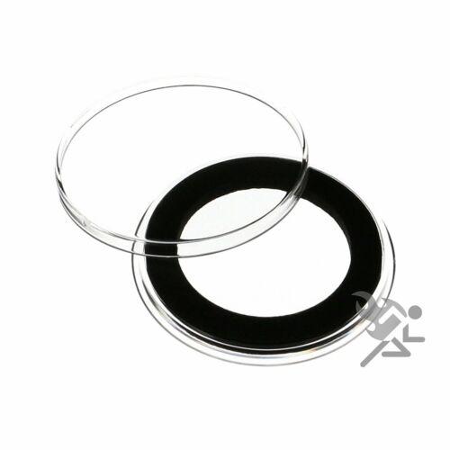 Black Lid Capsule Tube /& 20 Air-Tite 34mm Black Ring Coin Holders for 1//2oz