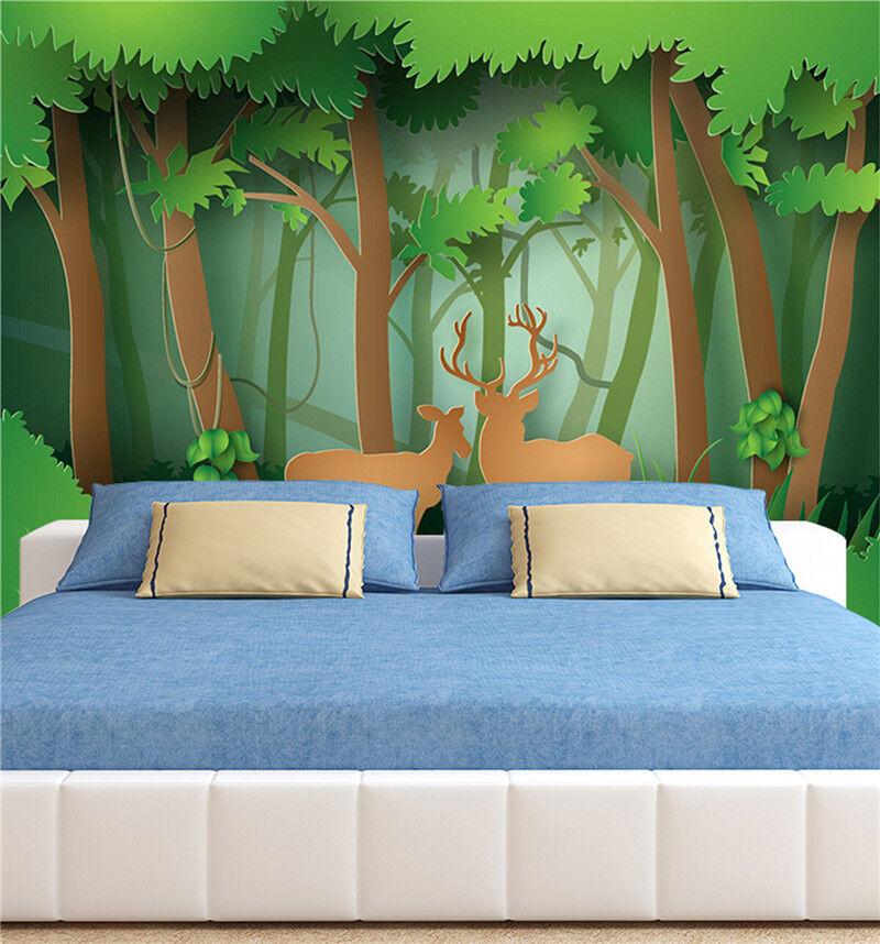 3D Karikatur Wälder Hirsch 778 Tapete Wandgemälde Tapeten Bild Familie DE Lemon