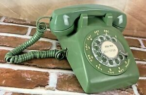 Western-Electric-Rotary-Dial-Telephone-Desk-Table-Phone-Green-500DM-Mfd-9-1978