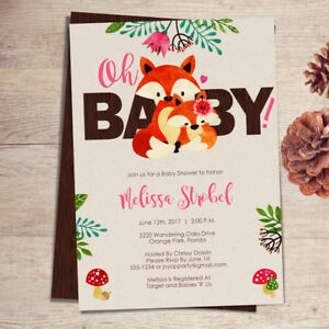 Fox Baby Shower Invitations Girl Fox Theme Baby Shower Invites