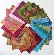 """Batik Cotton Fabric Charm Pack 42x5"""" squares."""