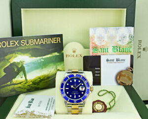 ROLEX Mens 18kt Gold & Stainless Submariner Blue Dial No Holes 16613 SANT BLANC