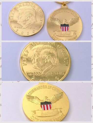 Coin Keychain President Trump 2020 Bright Gold plating Memorial collection gift