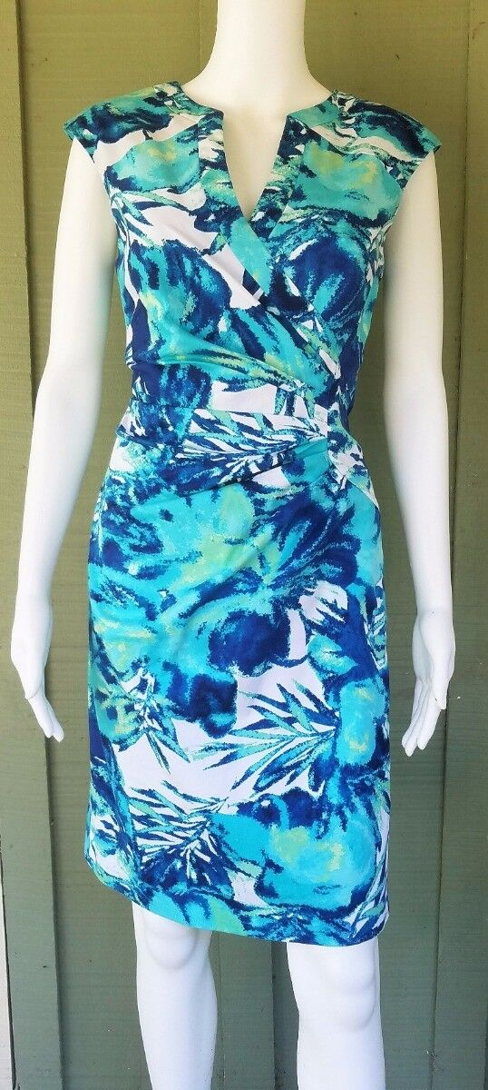 ADRIANNA PAPELL Turquoise bluee Ruched Dress 4  Stretch Cotton