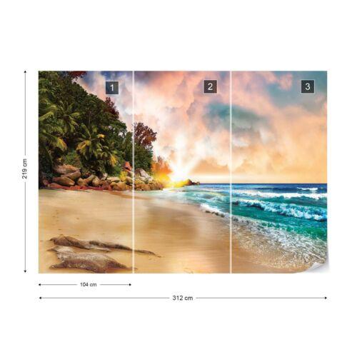 Tropical Beach Sunset Photo Wallpaper Wall Mural Fleece Easy-Install Paper
