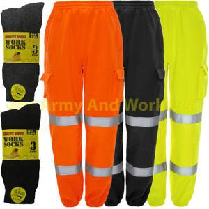 Da Uomo Hi Vis Viz Visibilità sicurezza pile Bottoms Work Wear Pantaloni Jogger Pantaloni