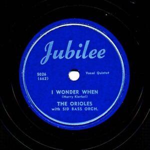 Doo-Wop-The-ORIOLES-on-Scarce-1950-Jubilee-5026-I-Wonder-When-Moonlight