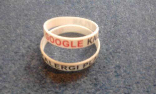GOOGLE KALERGI PLAN Red /& Black Debossed On White Latex Adult//Youth Wristband