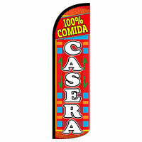 100% Comida Casera Windless Swooper Feather Flag Tall Banner Sign 3' Wide