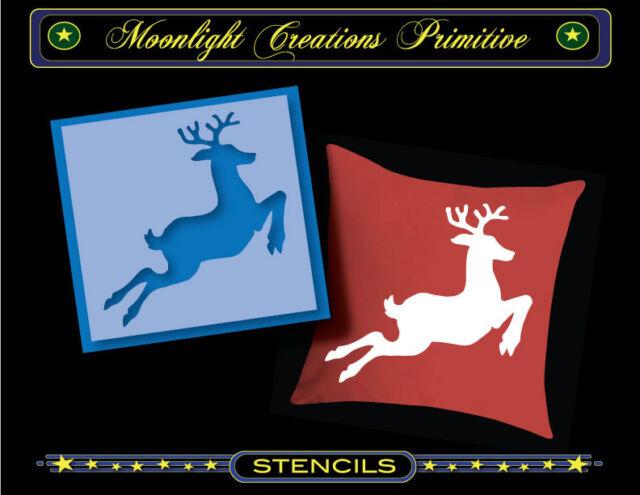 Primitive Stencil~Vintage Style~REINDEER 100~Flying Christmas Reindeer