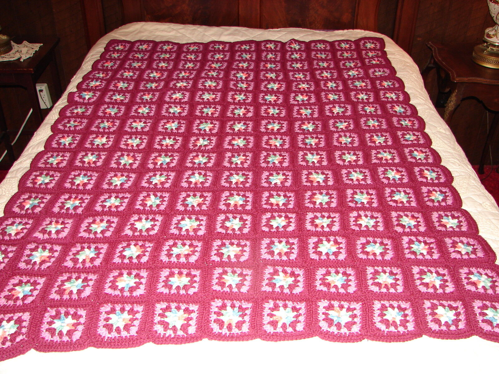 NEW Handcrafted Crochet Afghan Throw Blanket  Granny Square Pattern
