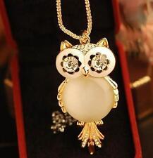 Eule Halskette weiß Strass Eulenkette Uhu Kauz Kette Mondstein Owl Necklace NEU