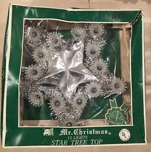 Vintage-MR-CHRISTMAS-15-Light-Silver-Star-Tree-Topper-Lights-Up-Tinsel-1973