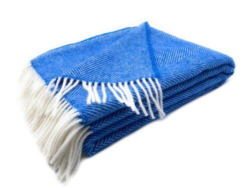 "100/% Merinowolle Plaid /""Herringbone/"" 130x180 cm ocker// blau// weiß"