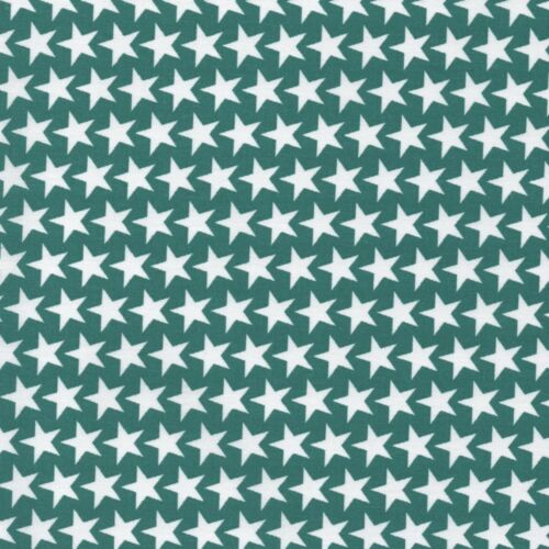 Mono Packed Stars Teal Green 100/% Cotton Fabric Geometric Dressmaking Quilti