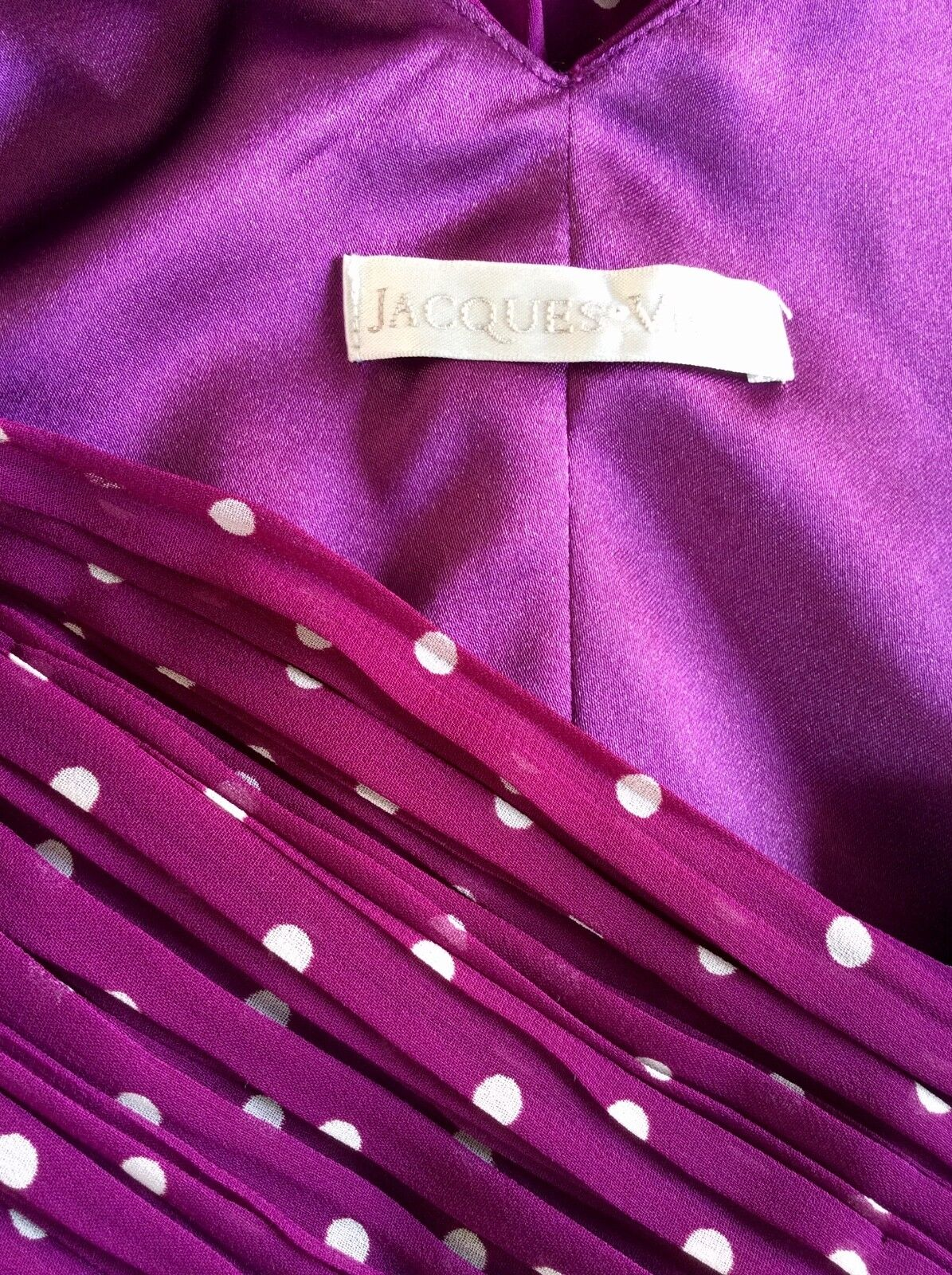 JACQUES green DEEP MAGENTA PINK SPOTTED PLEATED SPECIAL OCCASION OCCASION OCCASION DRESS SIZE 10 1c72a2