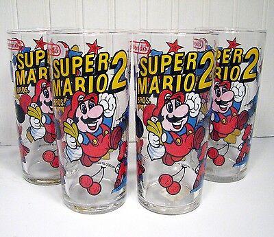 Super Mario Bros 2 Drinking Glasses (Set of 4) Nintendo 1989 Vintage