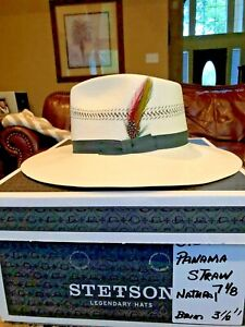 6df04622a Details about STETSON PANAMA STRAW NATURAL 7 1/8 SANTUNG HAT!