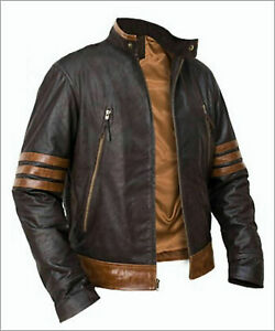 X-Men-Wolverine-Origins-Bomber-Style-Brown-Real-Leather-Jacket-Size-S-M-L-XL-2XL