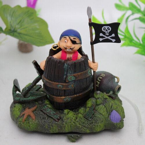 Aquarium Decor Pirate in a Barrel Fish Tank Aquarium Decoration Ornament WA-97