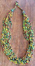 Rastafarian Colours Multi Strand 18 to 19 inch Rasta Seed Bead Necklace