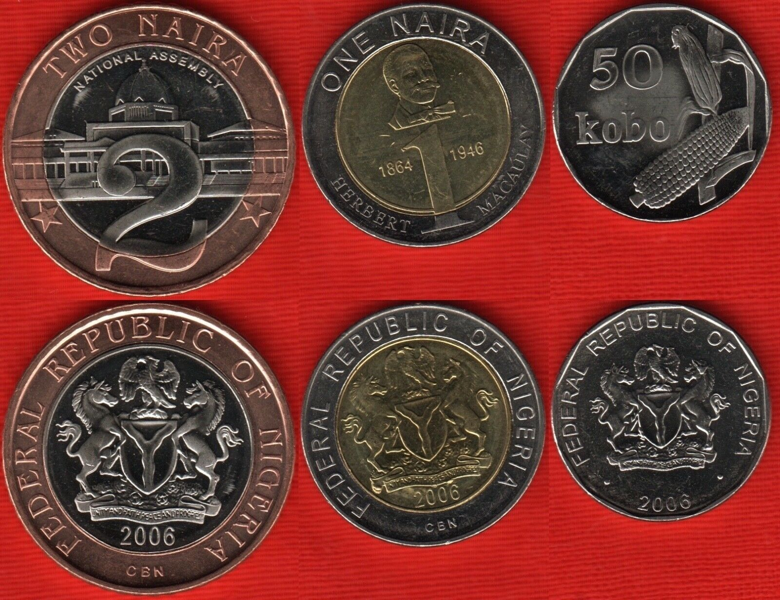 Nigeria 3 coins set  50 Kobo 1 2 Naira UNC 2 bimetal