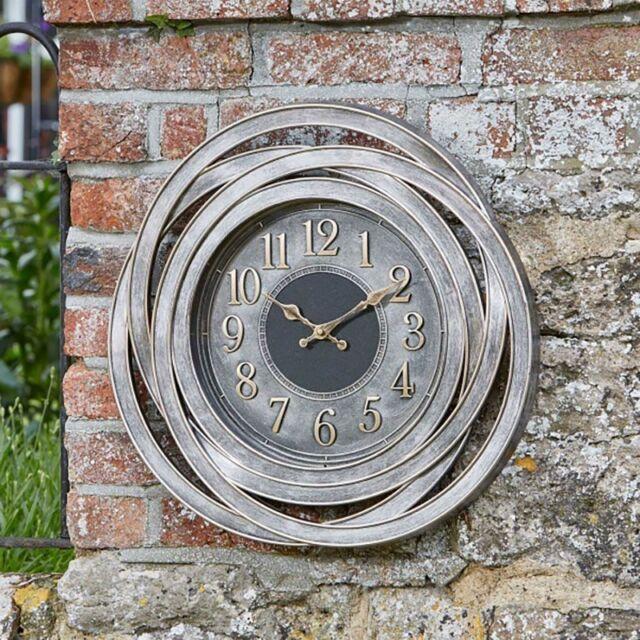 Outdoor Retro Clock Large Numeral Wall Clock for Garden Indoor Metallic Silver