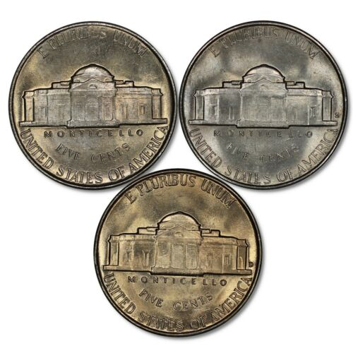 1947 P D S JEFFERSON NICKEL 5C SET GEM BU BRILLIANT UNCIRC 3 COIN LOT