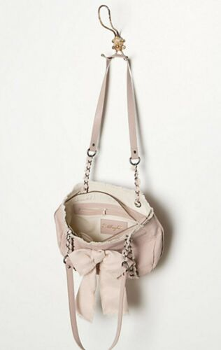 Bolso Albright Satchel cadena de con Purse Bow Anthropologie Nwt cuero Miss rosado qHTUxxt