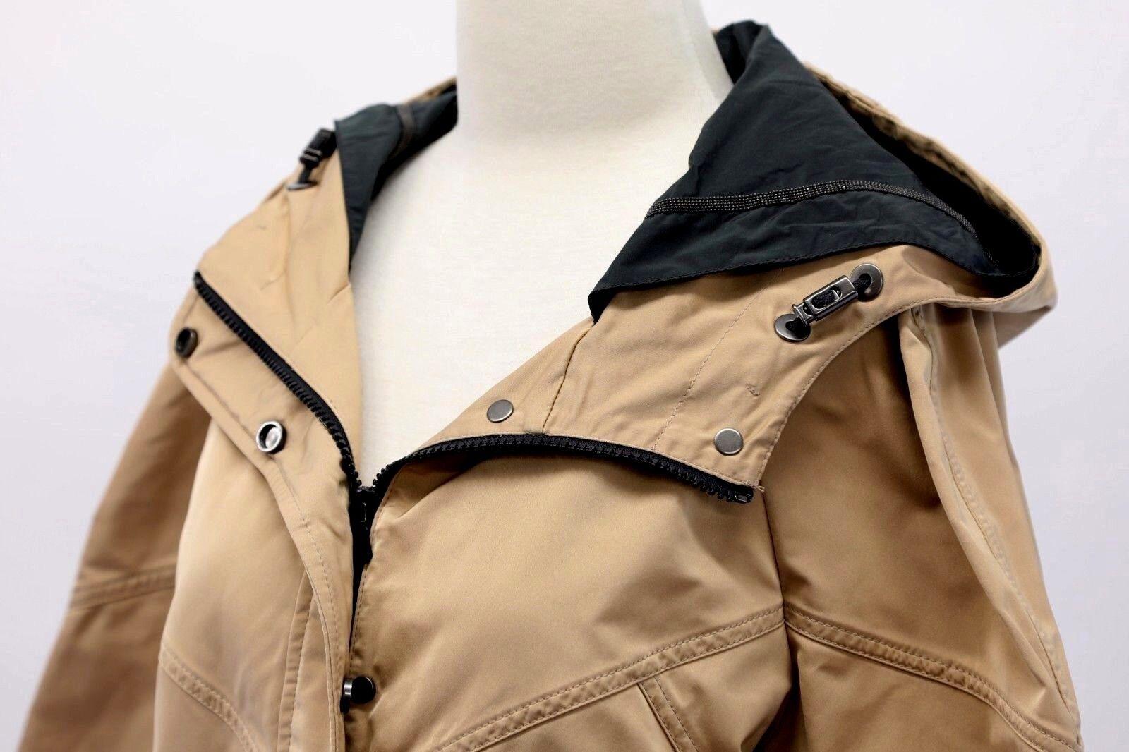 NWT 3695 Brunello Cucinelli Cucinelli Cucinelli Silk Satin Beaded Hooded Overcoat W Logo Detail A186 5b2b4e