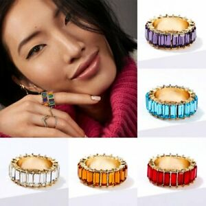 Rainbow-Crystal-Baguette-Band-Stackable-Eternity-Cubic-Zirconia-Rings-Jewelry