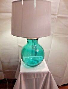 Teal Blue Glass Table Lamp 25 With Shade Spanish Recycled Glass Ebay