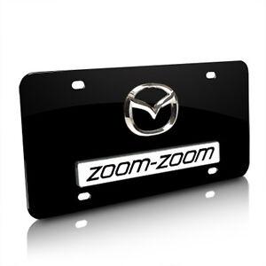 Mazda Zoom Zoom 3d Logo Black Metal License Plate Ebay