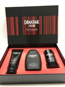 Drakkar-Noir-by-Guy-Laroche-3pc-Set-3-4-oz-EDT-Spray-for-Men-Old-Formula-Rare