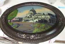 1917 ANTIQUE REVERSE PAINTED CAPITOL DOMED CONVEX BUBBLE GLASS WOOD FRAME 25x19