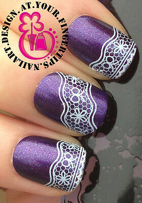 NAIL ART WRAP WATER TRANSFER DECALS BLACK & WHITE FLOWERS/BOWS LACE MESH #70