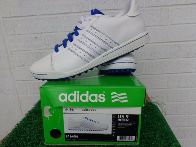edc32ce8ada5 Adidas Golf Adicross White and Blue Spikeless Golf Shoes US Size 9 Medium  NEW