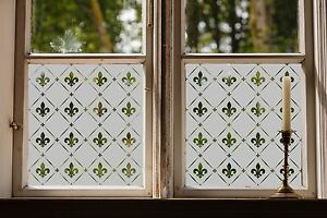 Etched glass window film frosted victorian style for Decorative window film stained glass victorian