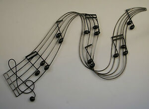 Metal Wall Art Decor Picture Music Notes River Blacksilver New