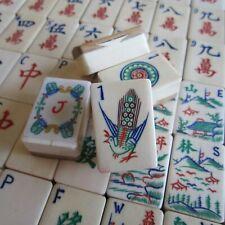 Vtg 1920s 152 Tiles Thick Bone & Bamboo Mahjong Set, Sequetial Flowers Mah Jongg