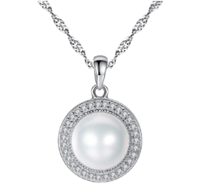 """Sterling 925 Silver Natural Freshwater Pearl Necklace - 17"""" Chain - CZ Halo"""