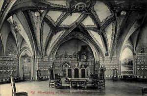 Meissen-Sachsen-s-w-Postkarte-1910-Albrechtsburg-Innenansicht-des-Wappensaales