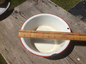Bowl , White With Red Trim , Country Primitive, Enamelware , Rustic Shabby