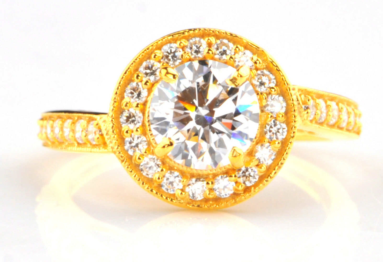 2.40 Carat 14KT Solid Yellow gold Fantastic Round Shape Solitaire Wedding Ring