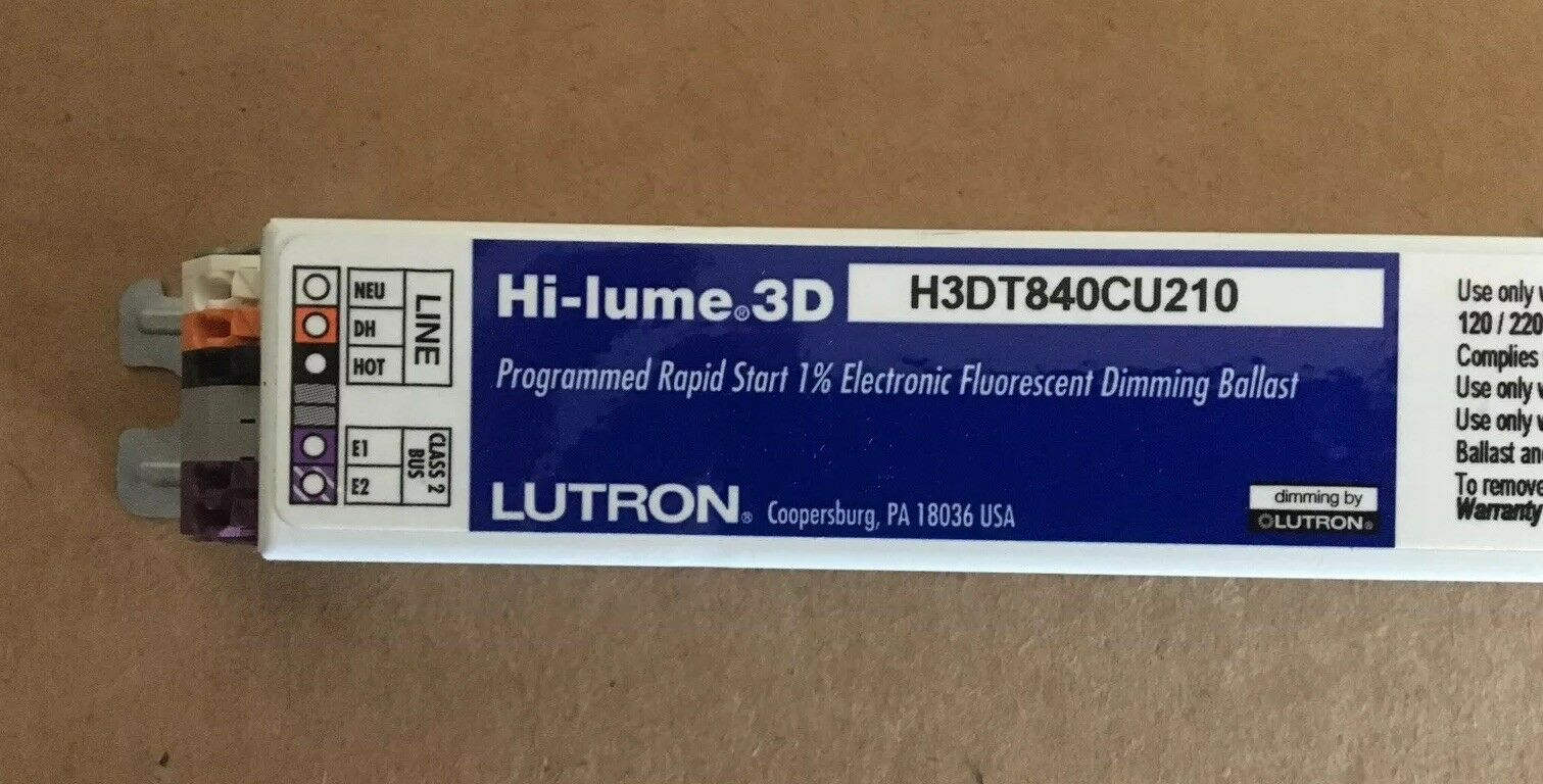 F40T8 40W T8 2-LAMP LUTRON H3DT840CU210 HI-LUME 3D FLUORESCENT DIMMING BALLAST