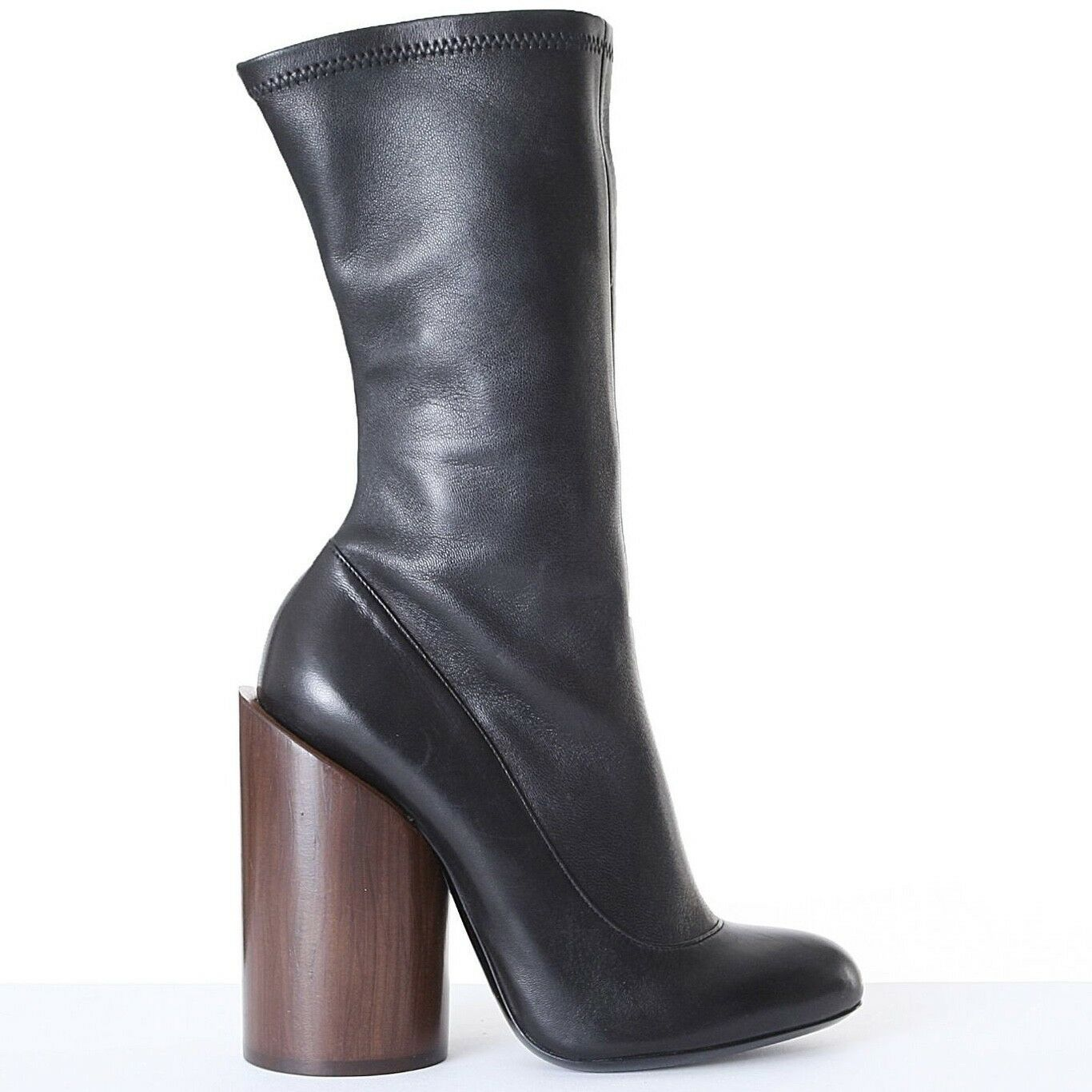 new GIVENCHY Runway Prive black leather sock wood cylinder heel boots EU37 US7