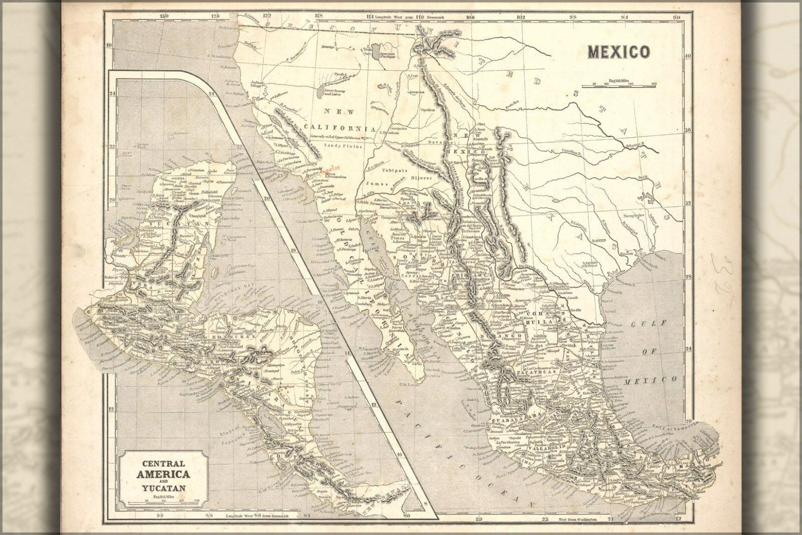 Größes; Many Poster, Map Central 1842 America Of Inset And ...