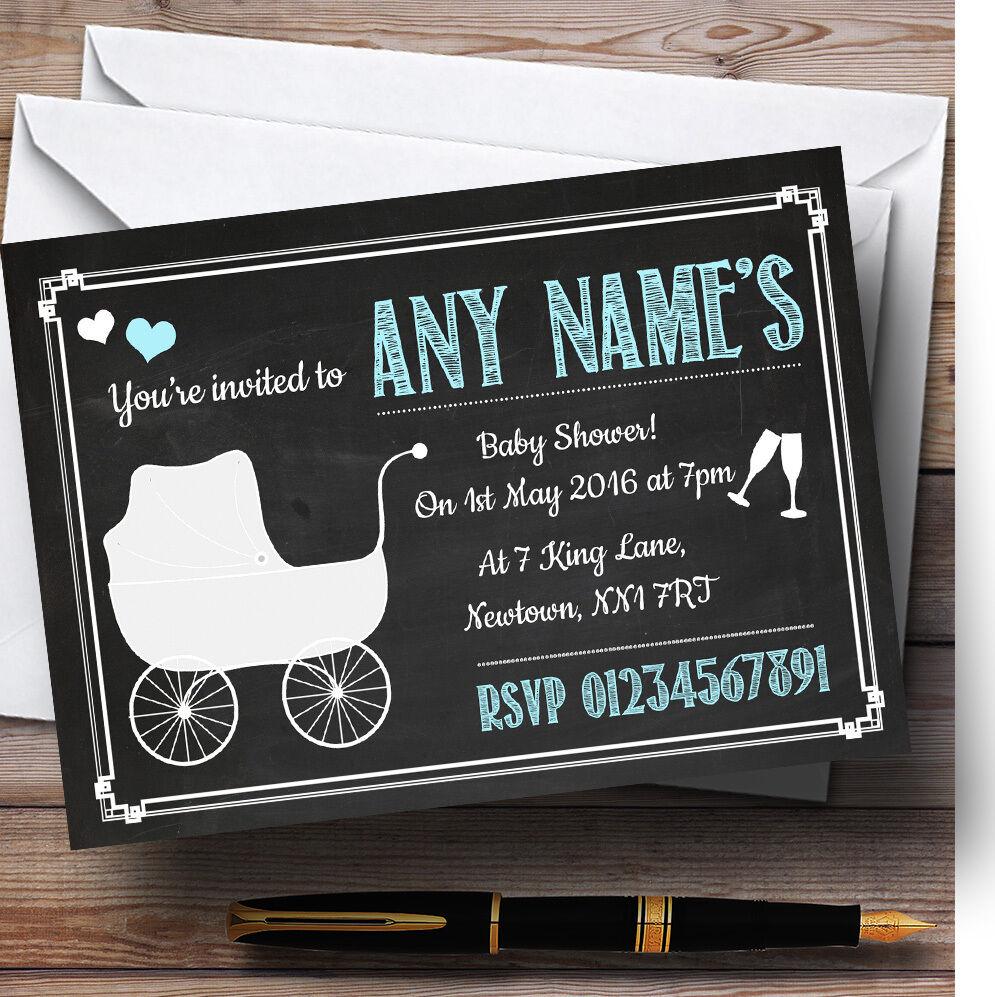 Chalkboard Blau Personalised Baby Shower Invitations 9e5fc1
