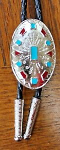 Bolo-Tie-Western-Wear-Square-Dance-Cowboy-Rodeo-Turquoise-Coral-Made-in-USA