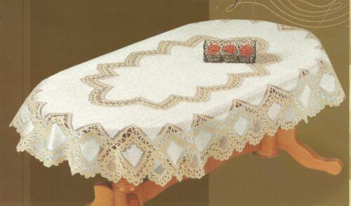 Fancy oval Cream//Dark Gold Tablecloth NEW elegant gift//present